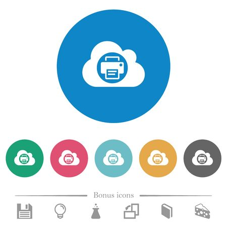 Cloud printing flat white icons on round color backgrounds. 6 bonus icons included. Иллюстрация