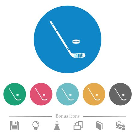 Hockey stick and puck flat white icons on round color backgrounds. 6 bonus icons included. Иллюстрация