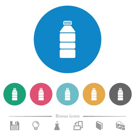 Water bottle flat white icons on round color backgrounds. 6 bonus icons included. Иллюстрация