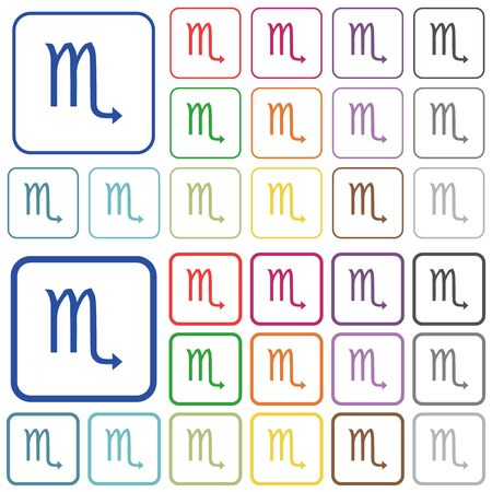 Scorpio zodiac symbol color flat icons in rounded square frames. Thin and thick versions included.