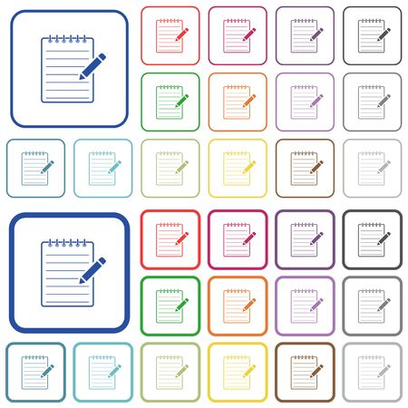 Spiral notepad with pencil color flat icons in rounded square frames. Thin and thick versions included.  イラスト・ベクター素材