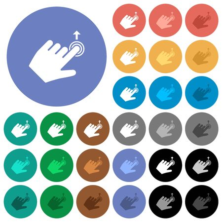 Left handed slide up gesture multi colored flat icons on round backgrounds. Included white, light and dark icon variations for hover and active status effects, and bonus shades.
