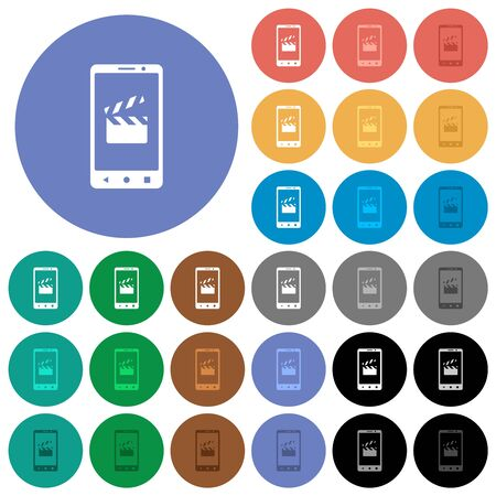 Smartphone film cut multi colored flat icons on round backgrounds. Included white, light and dark icon variations for hover and active status effects, and bonus shades. 向量圖像