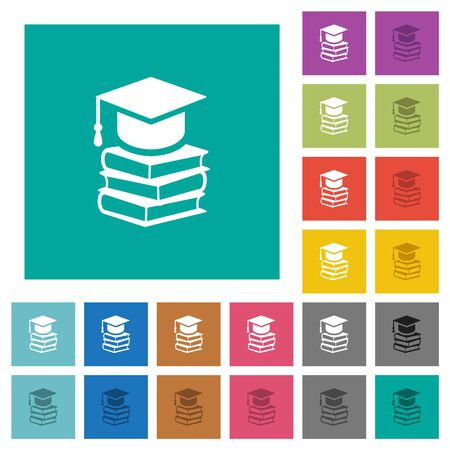 Graduation cap with books multi colored flat icons on plain square backgrounds. Included white and darker icon variations for hover or active effects.