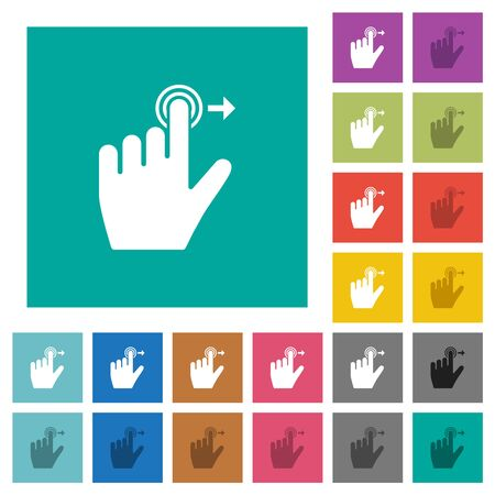Left handed slide right gesture multi colored flat icons on plain square backgrounds. Included white and darker icon variations for hover or active effects.