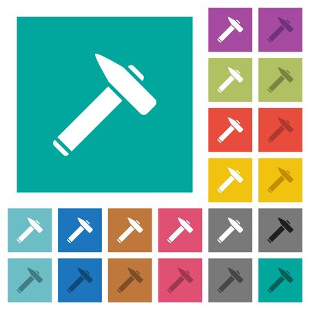 Old hammer multi colored flat icons on plain square backgrounds. Included white and darker icon variations for hover or active effects.