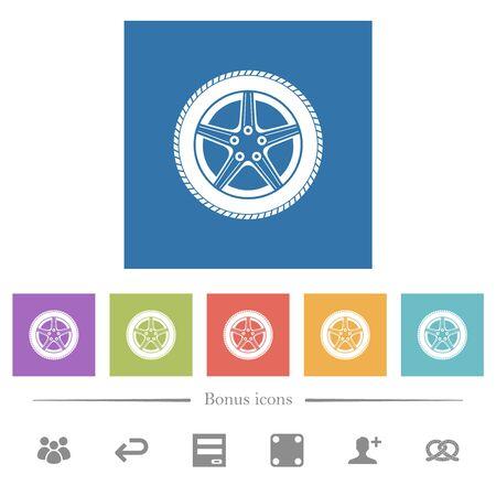 Car wheel flat white icons in square backgrounds. 6 bonus icons included. Illusztráció