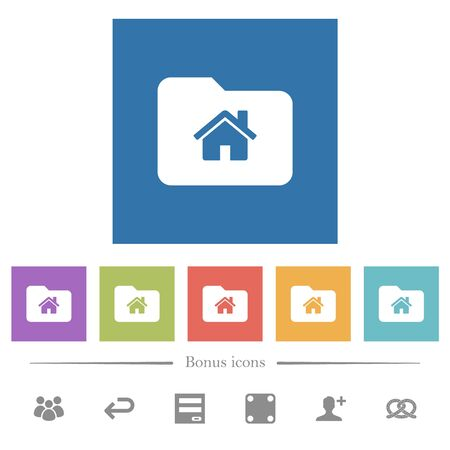 Home folder flat white icons in square backgrounds. 6 bonus icons included.