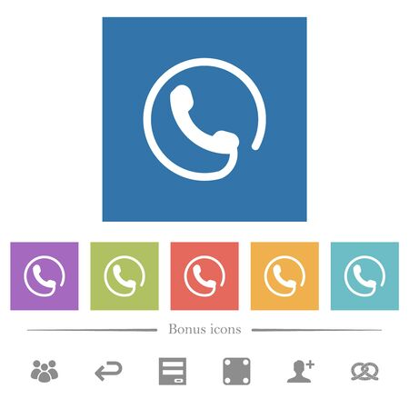 Hotline flat white icons in square backgrounds. 6 bonus icons included.