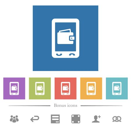 Mobile wallet flat white icons in square backgrounds. 6 bonus icons included.