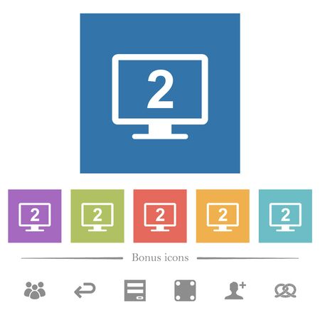 Secondary display flat white icons in square backgrounds. 6 bonus icons included.