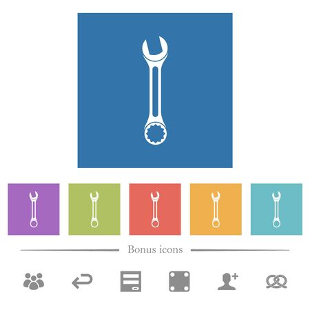 Single wrench flat white icons in square backgrounds. 6 bonus icons included.