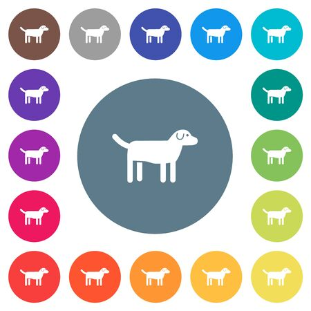 Dog flat white icons on round color backgrounds. 17 background color variations are included. Illusztráció