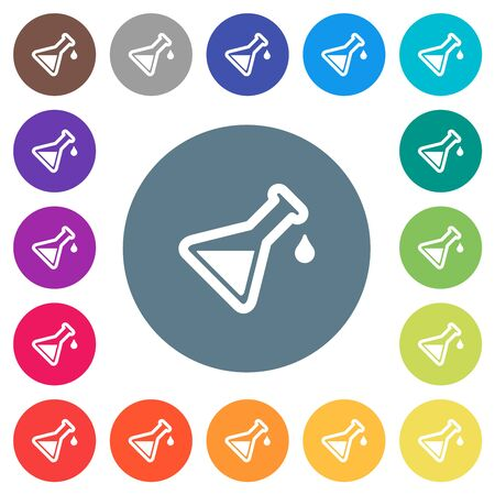 Experiment flat white icons on round color backgrounds. 17 background color variations are included.