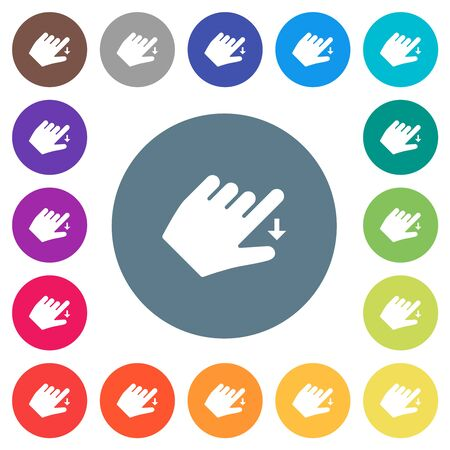 Left handed move down gesture flat white icons on round color backgrounds. 17 background color variations are included.
