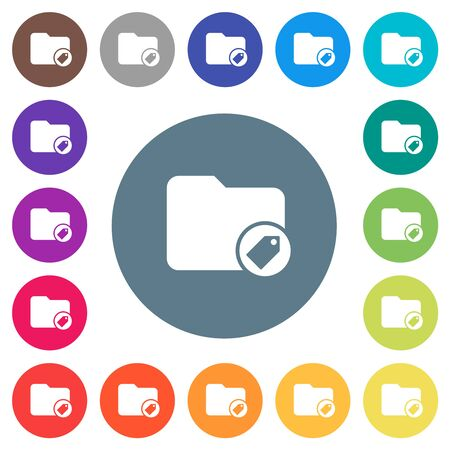 Tagging directory flat white icons on round color backgrounds. 17 background color variations are included.