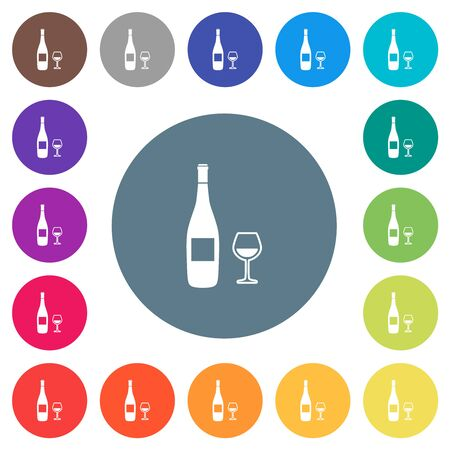 Wine bottle and glass flat white icons on round color backgrounds. 17 background color variations are included. Illusztráció