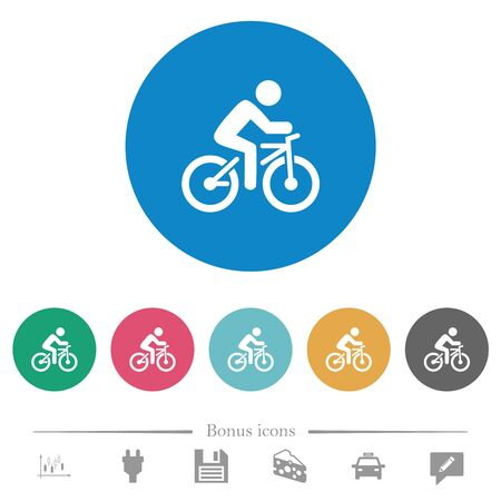 Bicycle with rider flat white icons on round color backgrounds. 6 bonus icons included. Illusztráció