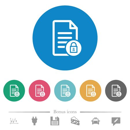 Locked document flat white icons on round color backgrounds. 6 bonus icons included.
