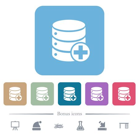 Add to database white flat icons on color rounded square backgrounds. 6 bonus icons included