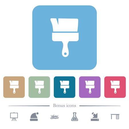Paint brush white flat icons on color rounded square backgrounds. 6 bonus icons included
