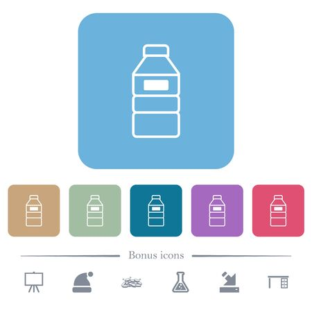 Water bottle with label white flat icons on color rounded square backgrounds. 6 bonus icons included Illusztráció