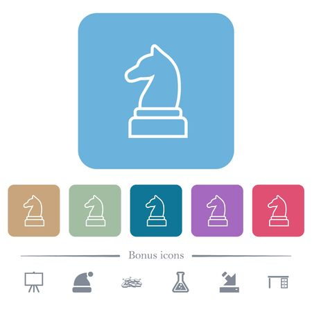 White chess knight white flat icons on color rounded square backgrounds. 6 bonus icons included