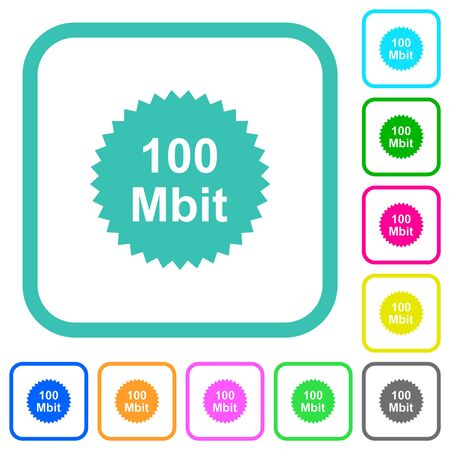100 mbit guarantee sticker vivid colored flat icons in curved borders on white background