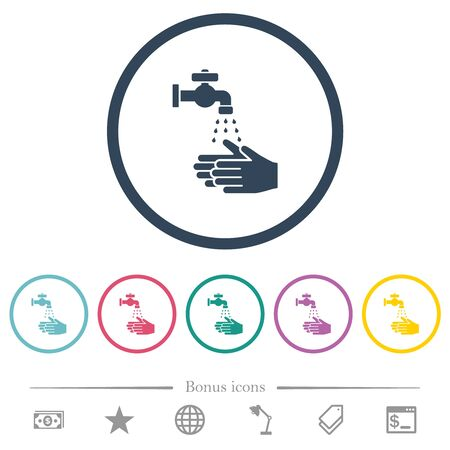 Hand washing flat color icons in round outlines. 6 bonus icons included.