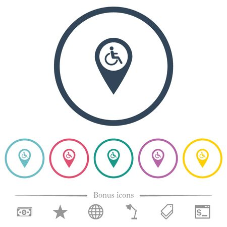 Disability accessibility GPS map location flat color icons in round outlines. 6 bonus icons included.