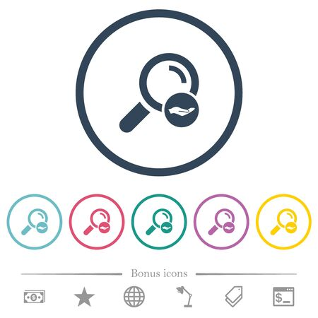 Search services flat color icons in round outlines. 6 bonus icons included.