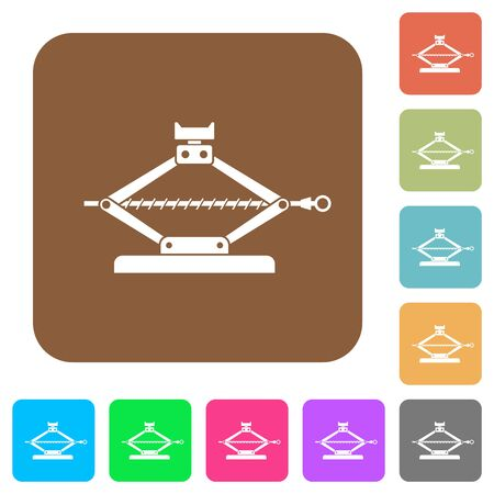 Car jack flat icons on rounded square vivid color backgrounds.