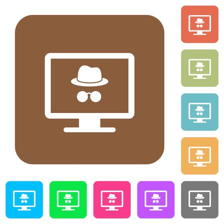 Monitor with incognito symbol flat icons on rounded square vivid color backgrounds. Ilustrace
