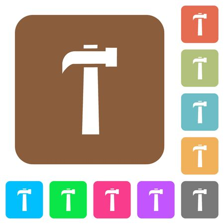Old hammer flat icons on rounded square vivid color backgrounds.