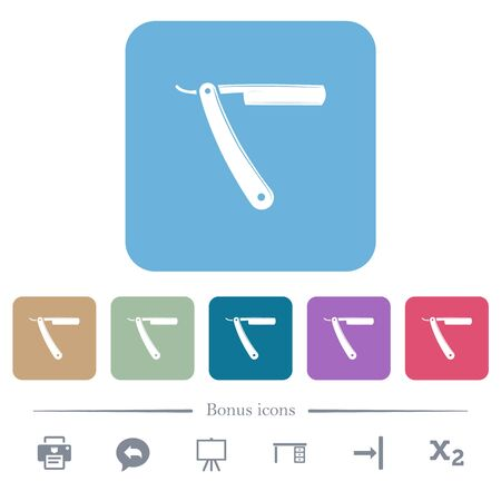 Straight razor white flat icons on color rounded square backgrounds. 6 bonus icons included