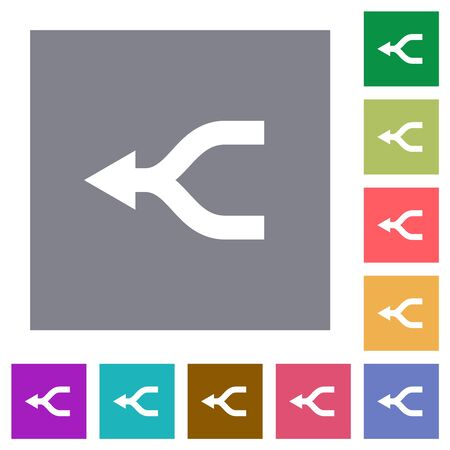 Merge arrows left flat icons on simple color square backgrounds Illustration