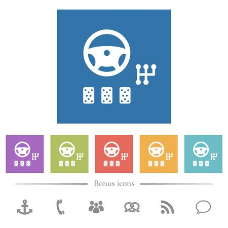 Car controls flat white icons in square backgrounds. 6 bonus icons included.