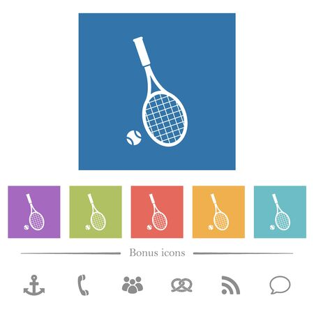 Tennis racket with ball flat white icons in square backgrounds. 6 bonus icons included.