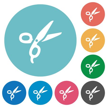 Barber scissors flat white icons on round color backgrounds