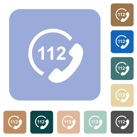 Emergency call 112 white flat icons on color rounded square backgrounds Ilustrace