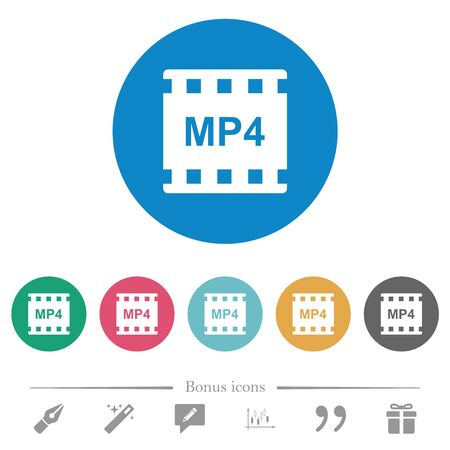 mp4 movie format flat white icons on round color backgrounds. 6 bonus icons included.