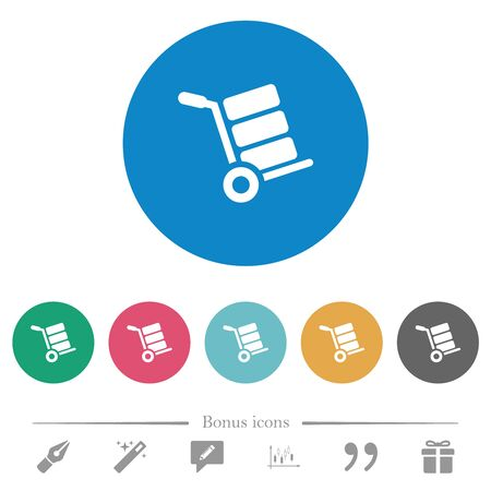 Hand truck with boxes flat white icons on round color backgrounds. 6 bonus icons included.