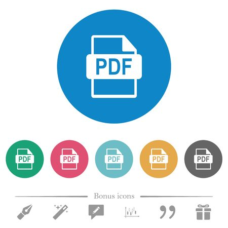PDF file format flat white icons on round color backgrounds. 6 bonus icons included.