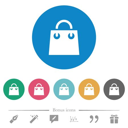 Shopping bag flat white icons on round color backgrounds. 6 bonus icons included.