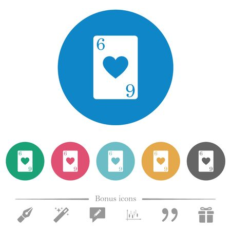 Six of hearts card flat white icons on round color backgrounds. 6 bonus icons included.