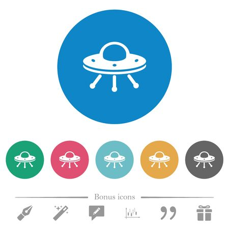 UFO flat white icons on round color backgrounds. 6 bonus icons included. 向量圖像