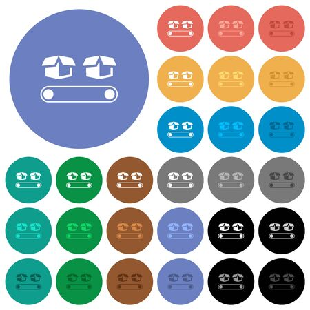 Conveyor with boxes multi colored flat icons on round backgrounds. Included white, light and dark icon variations for hover and active status effects, and bonus shades.