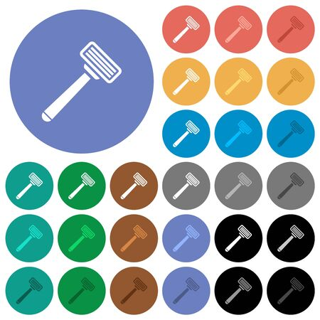 Razor multi colored flat icons on round backgrounds. Included white, light and dark icon variations for hover and active status effects, and bonus shades.