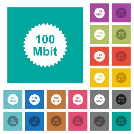 100 mbit guarantee sticker multi colored flat icons on plain square backgrounds. Included white and darker icon variations for hover or active effects. Illusztráció