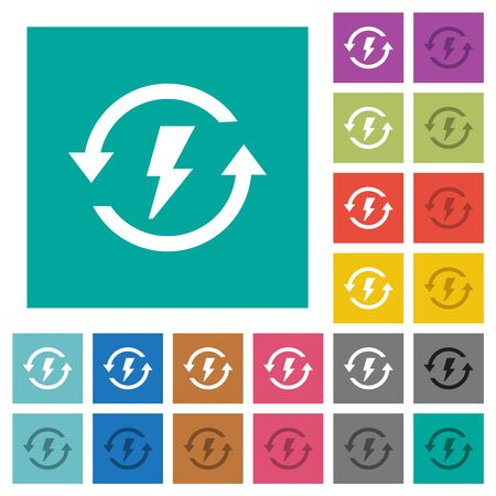 Renewable energy multi colored flat icons on plain square backgrounds. Included white and darker icon variations for hover or active effects.